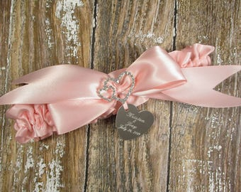 Personalized Pink Wedding Garter, Personalized Bridal Garter with Rhinestone Linked Hearts and Engraving