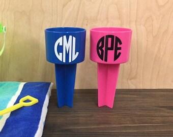 Circle Monogram Beach Sand Spiker Drink Holder Custom Personalized
