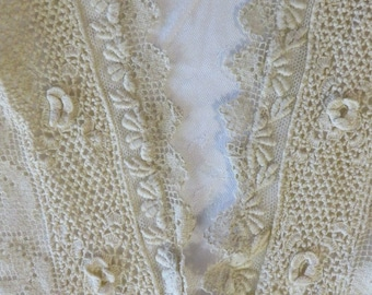 """Antique Lace Collar Very long Front Panel V-Neck Design Back is Squared Hand Crocheted Lace  AND Filet Lace  //  Front Panel is 26 1/2"""" Long"""