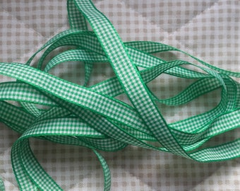 10mm Green GINGHAM Ribbon (1 cm)-discount sale price
