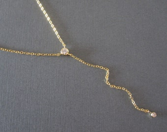 CZ Stone Gold Lariat Necklace - Y Style Necklace - Simple Modern Everyday Lariat Necklace