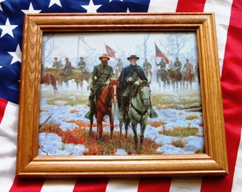 Civil War Painting. Generals Robert E Lee, James Longstreet at Fredericksburg