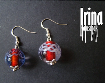 Transparent red earrings with violet stripes Glass bead earrings Lampwork glass earrings Lampwork beads Handmade jewelry