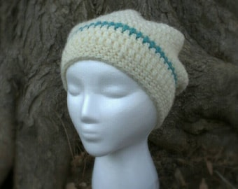 SALE! 10% off! Off white slouchy hat with teal stripe
