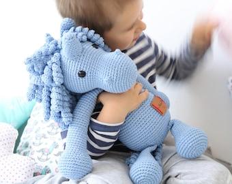 BIG XL Crocheted Blue Unicorn Plush, Unicorn Amigurumi, Unicorn Stuffed Animal Toy, Unicorn Plushie, Unicorn Stuffed Toy, Unicorn Soft Toy