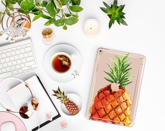 iPad Case . iPad Pro 10.5 . Pineapple with Rose Gold Smart Cover Hard Case for the   New iPad 9.7 2017  New  2017