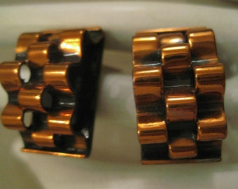 RENOIR COPPER Clip On Earrings Basket Weave Design Vintage 1960's