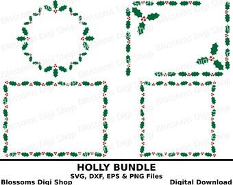 Holly bundle svg frames, digital download, holly stencil, holly clipart, bundle svg, christmas dxf, holly wreath, wreath svg, holly frame