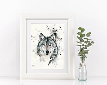 Watercolour A5, A4, A3 Painting and Pen Wolf Original Art Print - Limited Edition