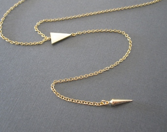 Gold Triangle Spike Lariat Necklace - Long Lariat Necklace - Geo Necklace - Geometric Charm Lariat Necklace - Long Layered Necklace