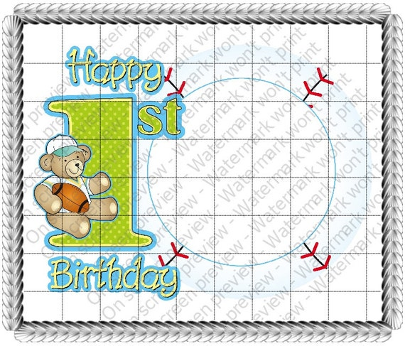 Boy 1st Birthday - Edible Cake and Cupcake Photo Frame For Birthdays and Parties! - D20601
