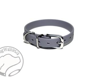 "NEW WIDTH - Stormy Gray Little Dog Collar - 1/2"" (12mm) Thin Beta Biothane Dog Collars - Waterproof Small Dog Collar"