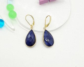 Amazing Blue Sapphire,Drop and Dangle Earrings,925 sterling silver,18 k Gold Plated Earrings,September Birthstone,Bezel Set Sapphire Earring