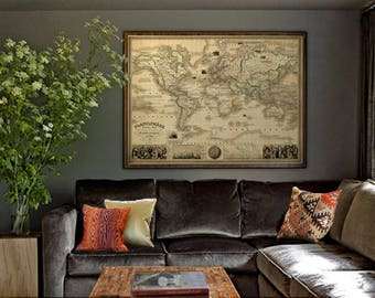 Antique world map etsy antique map of the world vintage map restored planisphere world map large antique gumiabroncs Gallery
