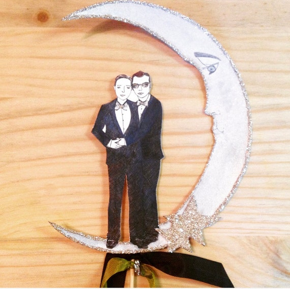 Gay Wedding Cake Topper, Two Grooms, Custom Portrait, Personalized ,Illustrated Portrait