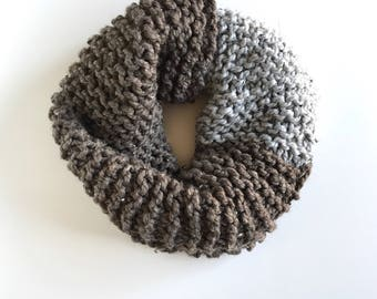 Chunky Knit Scarf, Boho Knit Scarf, Brown Knitted Cowl, Neckwarmer, Big Knit Cowl, Chunky Scarf, Knit Scarf, Circle Scarf, Gift for Her