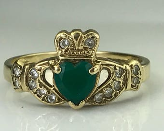 Vintage Emerald Claddagh Ring. Diamond Accents. 9K Gold. Unique Estate Engagement Ring. May Birthstone. 20th Anniversary. Appraised.