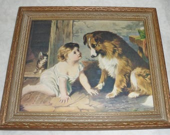 Original Antique Print 'Can you Talk' Girl with Collie Dog - Free Shippping