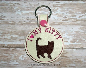 I Love My Kitty Keychain, Pink and Brown