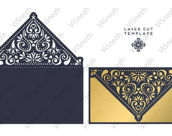 Laser cut Invitation Template. Wedding invitation template, Gift, Letter, etc. EPS SVG DXF cutting files, Silhouette Cameo, Cricut