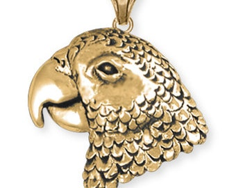 Solid African Grey Parrot Pendant Jewelry 14k Yellow Gold Vermeil AFG2-PVM