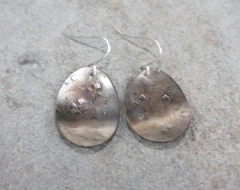 Recycled Bronze Cupped Oval Earring