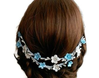 Peineta novia, tocado novia, novia azul y blanco, tocado azul novia, tocado flores novia, peineta flores novia, peineta azul y blanca,
