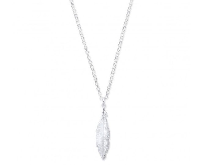 "Sterling Silver Single Feather Pendant on Adjustable 16""/18"" Chain"
