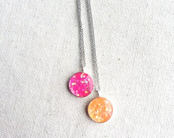 Glitter  Necklace Neon Orange Pink Sparkle Minimalist Resin Jewelry Bridal Fresh Whimsical Gift Ideas Unique Funky