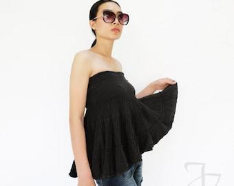NO.202 Black Double Cotton Gauze Ruffle Tube Top, Ruffle Mini Skirt, Women's Top
