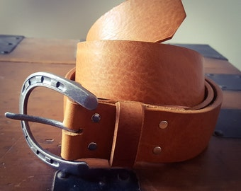 Leather Belt, Veg Tan Leather, Leather Horseshoe Buckle Belt, Leather Gift, Anniversary Gift