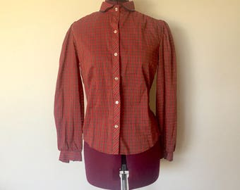 80s Plaid Red Top Button Up Cotton Peter Pan Collar S made in US by Try1