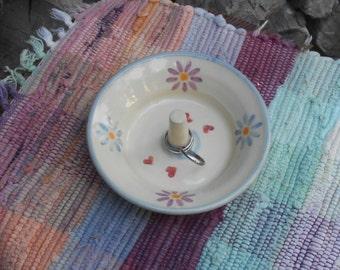 Pottery jewelry dish - hearts n flowers ceramic ring bowl - Handmade dresser dish - rustic pottery ring holder - dresser bowl - 4-088