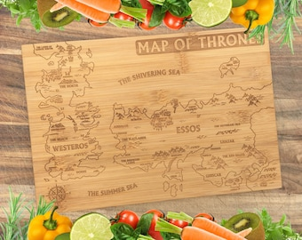 Map of Thrones - Game of Thrones Personalised Engraved Bamboo Chopping Board