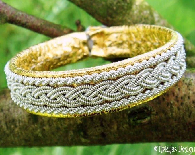 Viking Gold Bracelet MJOLNIR Pewter and Leather Cuff Bangle in Traditional Sami style Custom Handmade for Guys and Girls