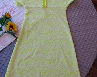 Yellow/lime girls size 3 dress pullover playdate birthday summer knit dress gif for her