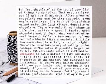 Chocolate Card; Card For Chocoholics; Chocolate Lovers Card; Love Chocolate Card; GC206