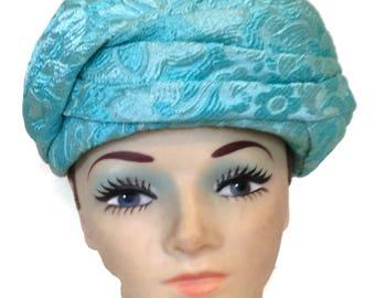 NOS Blue Brocade Vintage Hat