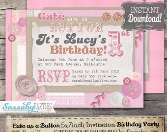 Cute as a Button Birthday Invitation - INSTANT DOWNLOAD - Editable & Printable Sewing, Shabby Chic, Party Invitation by Sassaby Parties