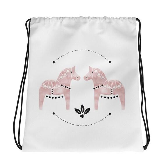 Dala Horse Drawstring bag, Dala Horse, Watercolor, Pink Dala Horse, Swedish Horse, Scandinavian Design, Horse
