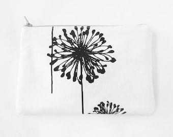 Make up Bag Dandelion Bag Monogrammed Makeup bag - Cosmetic Bag - Zipper Pouch - Coin Purse - Bridesmaid clutches - Medium