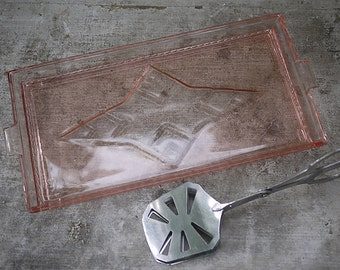 Pink depression Glass Dresser Tray or Serving Tray and Cake tong, set of 2 Circa 1930's