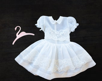 Vintage Girls Dress - White Sheer Girls Dress -  Size 5-6