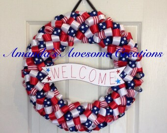 Welcome Patriotic Wreath; Spring Sale; Patriotic Decor; Memorial Day; Labor Day; 4th of July, Veterans Day