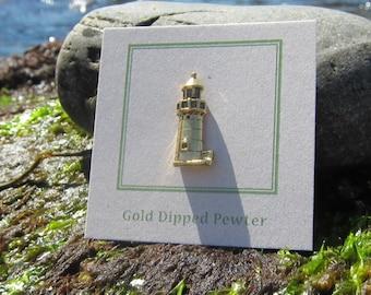 Gold Lighthouse Lapel Pin-CC284G