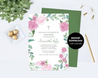 Girls Baptism Invitation, Floral Baptism Invitation, Baptism Girl, DIY Invite, Editable Template Invitation, Pink Watercolor Rose and Leaf
