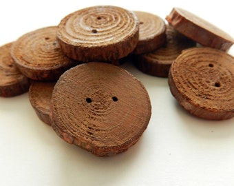 Handmade Pine Wood Chocolate Buttons with 2 Holes, 10 Pack, Christmas Gift, Gift for Her, Handmade Gift, Handcrafted Gift