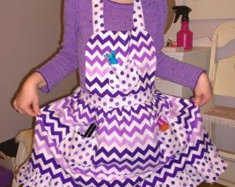 Chevron Apron, Children Apron, Toddler apron, Girl Apron, Purple Chevron Apron, Cooking Apron, Kids Apron, Little Girls Apron, Purple Apron