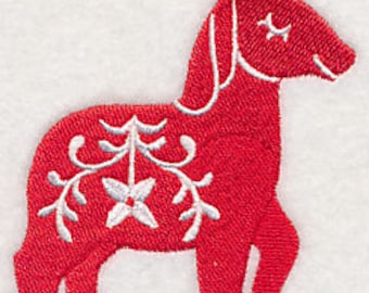 Floral Dala Horse Embroidered Kitchen Towel