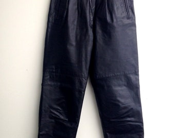 1980s Slim Leather Pants Biker Goth Rock And Roll